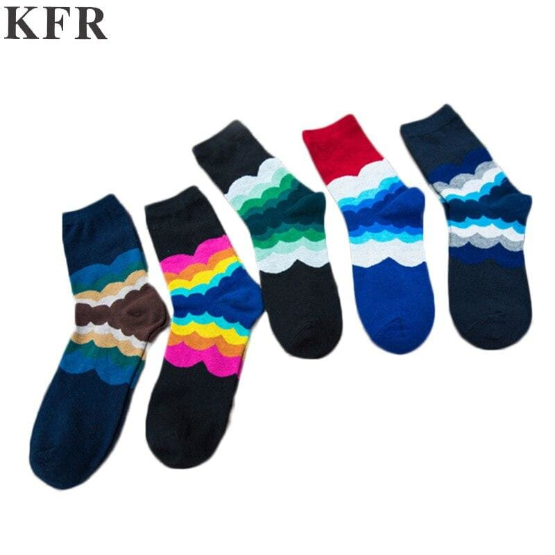 Happy funny Socks Gradient Color Summer Style Cotton Wedding Rainbow Men's Art Socks - My Web Store Shopping