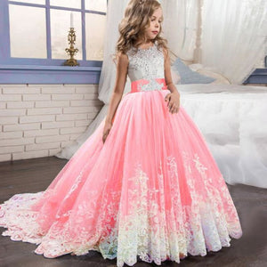 Load image into Gallery viewer, Kids Bridesmaid Flower Dresses For Party and Wedding Dress Children Pageant Gown Girls Princess - My Web Store Shopping
