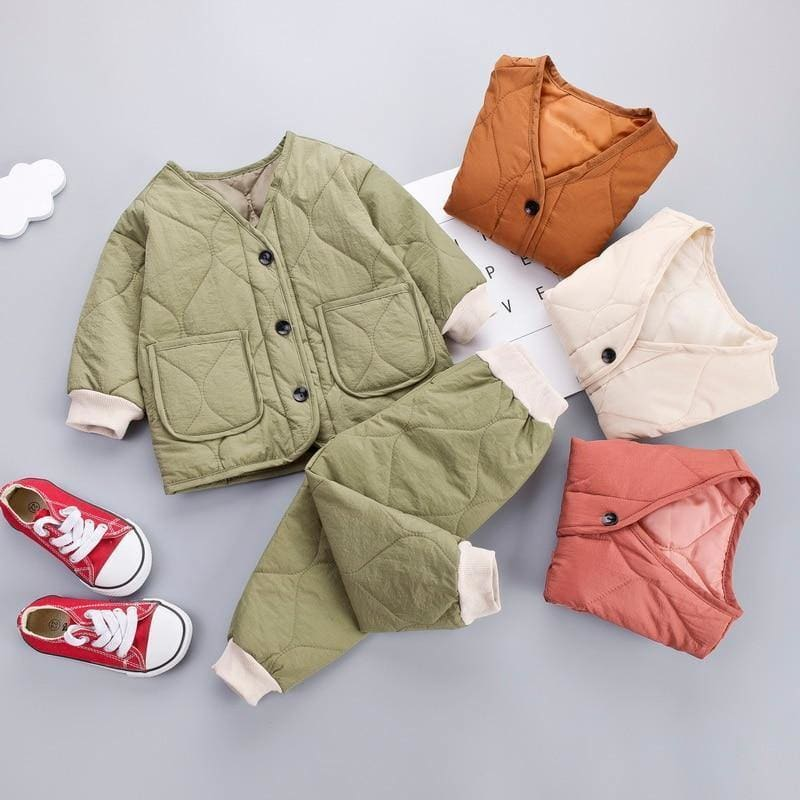 Kids Clothes 2019 Winter Baby Boys Girls Thicken Warm Cotton Outfit Toddler Coat Tops+ Pants 2Pcs Chilren Clothing Set - My Web Store Shopping