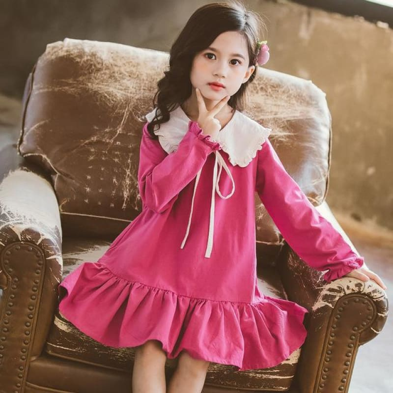 Load image into Gallery viewer, Kids Girls Long Sleeve Dress Spring 2020 Lovely Doll Collar Dresses for Toddler Baby Fashion - My Web Store Shopping