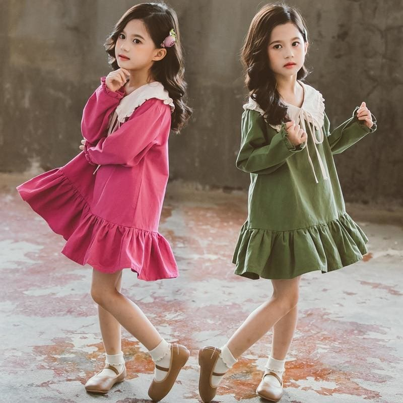Kids Girls Long Sleeve Dress Spring 2020 Lovely Doll Collar Dresses for Toddler Baby Fashion - My Web Store Shopping