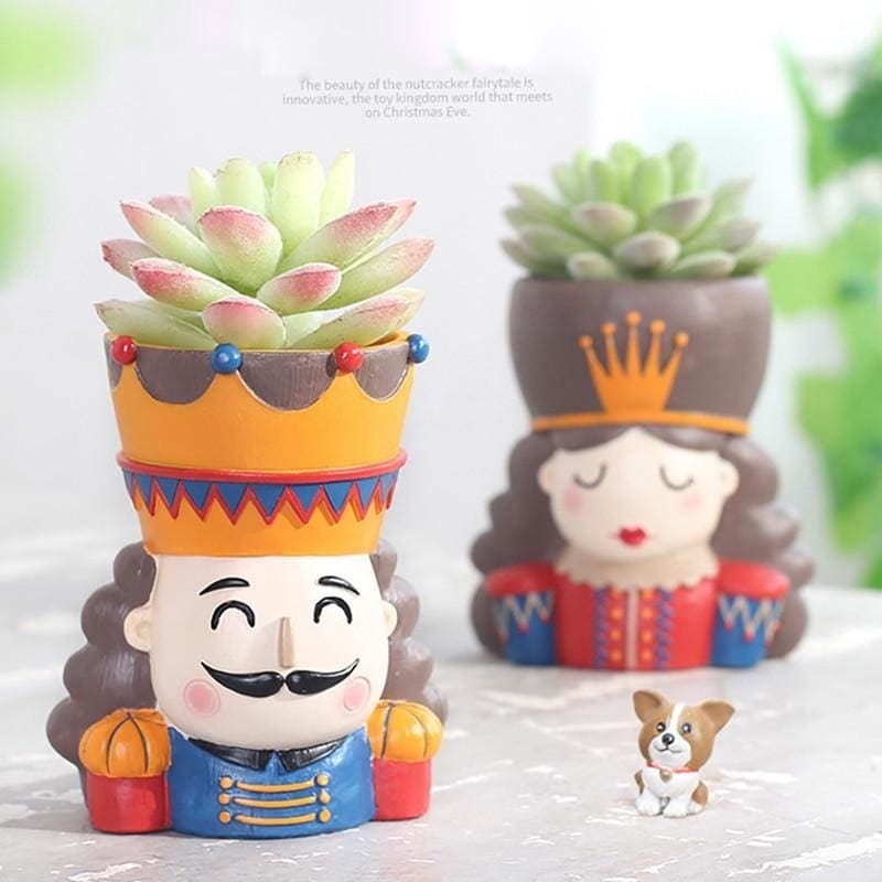 King And Queen Flower Pot For Home Decoration Walnut Fairy Tale Resin Flower Pot Garden Succulent - My Web Store Shopping