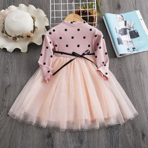 Knitted Girls Full Sleeve Dress Sequined Tulle Princess Baby Casual Wear - My Web Store Shopping
