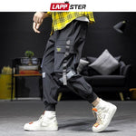 Streetwear Hip Hop Cargo Pants Mens Baggy Pockets Ribbon Joggers Pants Men Black Pants - My Web Store Shopping