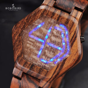 LED Display Wooden Watch BOBOBIRD Men Wristwatches Wood Night Vision - My Web Store Shopping