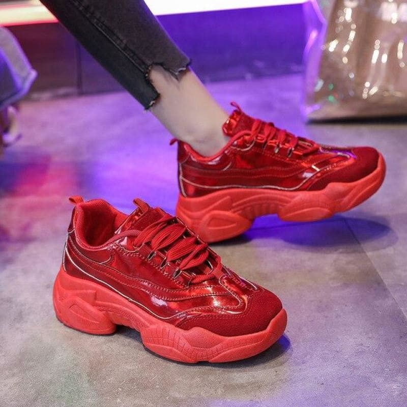 Load image into Gallery viewer, Laser Glitter Women's Chunky Sneakers Fashion Women Platform Shoes Lace Up Pink Vulcanize Shoes - My Web Store Shopping