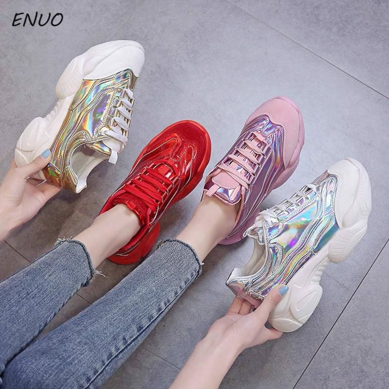 Laser Glitter Women's Chunky Sneakers Fashion Women Platform Shoes Lace Up Pink Vulcanize Shoes - My Web Store Shopping