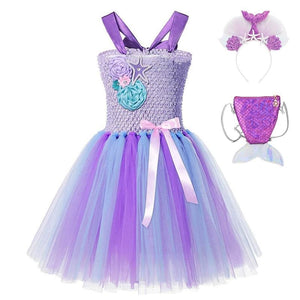 Load image into Gallery viewer, Little Mermaid Ariel Princess Dress For Girl Summer Kids 2T - 12T Wedding Flower - My Web Store Shopping