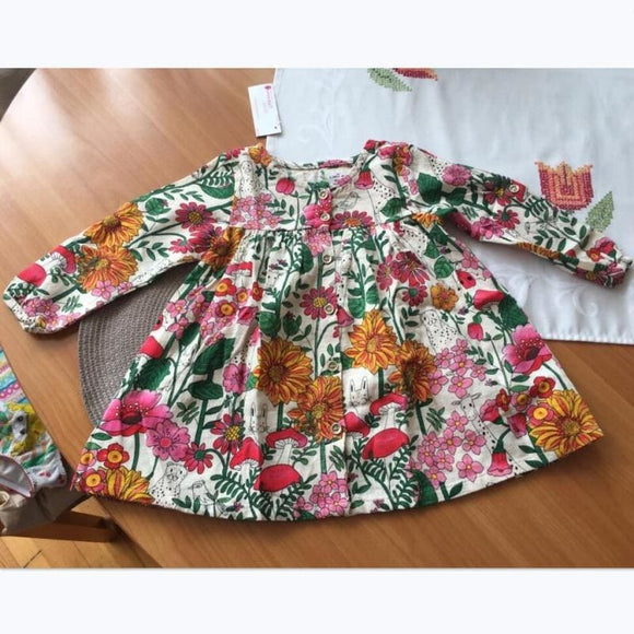 Little maven kids brand new design children's dress baby girls clothes Cotton plant print girl - My Web Store Shopping