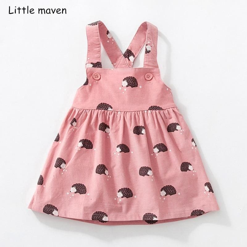 Little maven kids brand clothes 2018 autumn baby girls clothes Cotton flower print sundress girl - My Web Store Shopping