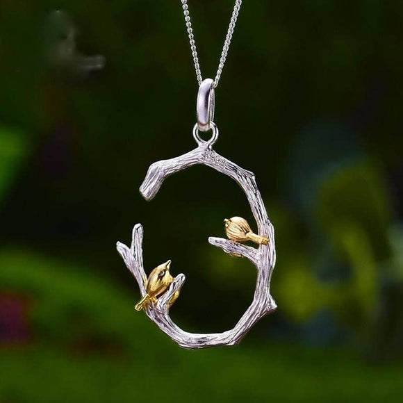 Real 925 Sterling Silver Natural Original Fine Jewelry 18K Gold Bird on Branch Pendant without - My Web Store Shopping