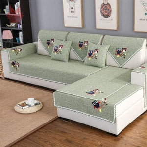 Load image into Gallery viewer, Lovely cartoon flocking green coffee cotton weaving sectional sofa cover for living room fundas de sofa couch covers cama SP5468 - My Web Store Shopping
