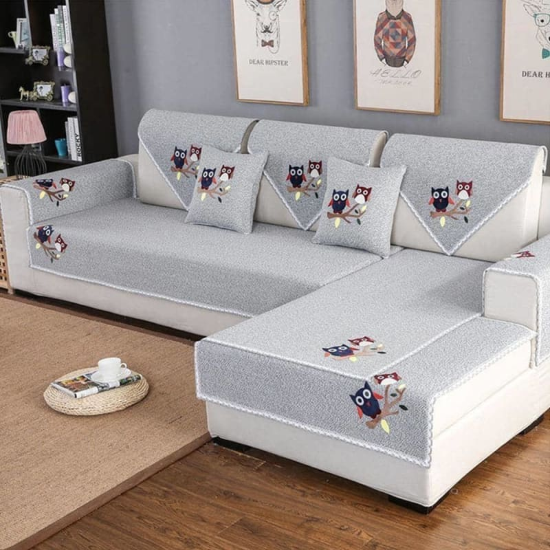 Lovely cartoon flocking green coffee cotton weaving sectional sofa cover for living room fundas de sofa couch covers cama SP5468 - My Web Store Shopping