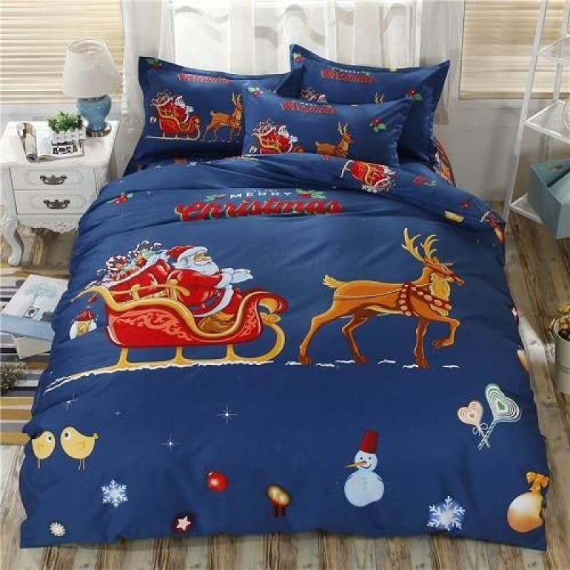 Luxury Christmas Deer Tree Red Blue Bedding Set Twin/Queen/King size 100% Cotton Bed sheet set Duvet Cover Pillowcase Gifts - My Web Store Shopping
