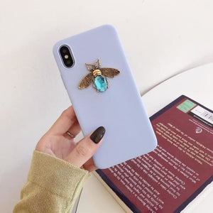 Load image into Gallery viewer, 3D diamond metal bee cute  for iphone X XR XS MAX 6S 7 8 plus for samsung S8 S9 S10 Note 9 cover - My Web Store Shopping