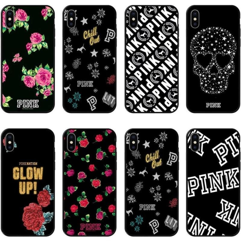 Luxury fashion Victoria PINK Case For iPhone XS MAX 6 6SPlus 7 7Plus 8 8Plus X XS XR black - My Web Store Shopping