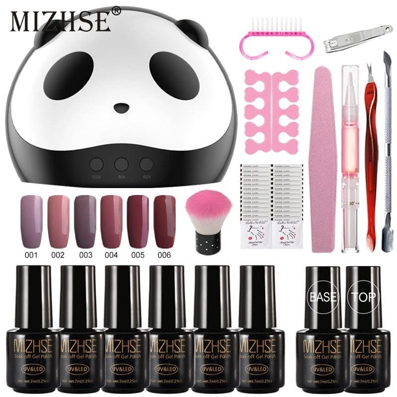 Nail Art Set Gel Nail Kits With 36W UV LED Lamp Dryer 6 pcs Gel Nail Polish Set Kit Nail Tools All - My Web Store Shopping