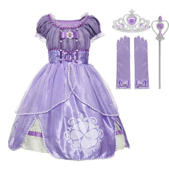 Sofia Princess Costume Children 5 Layers Floral Sophia Party Gown Girl Halloween Fancy Dress up - My Web Store Shopping
