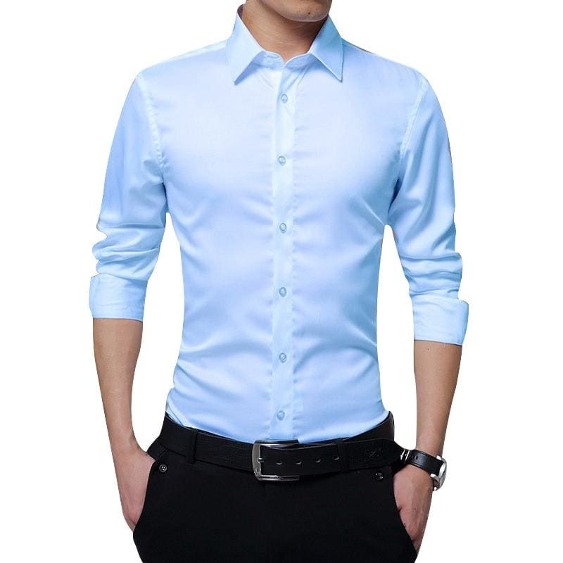 Men Long Sleeve shirt Slim Fit Solid Business for Formal Shirts Autumn men shirt white shirt - My Web Store Shopping