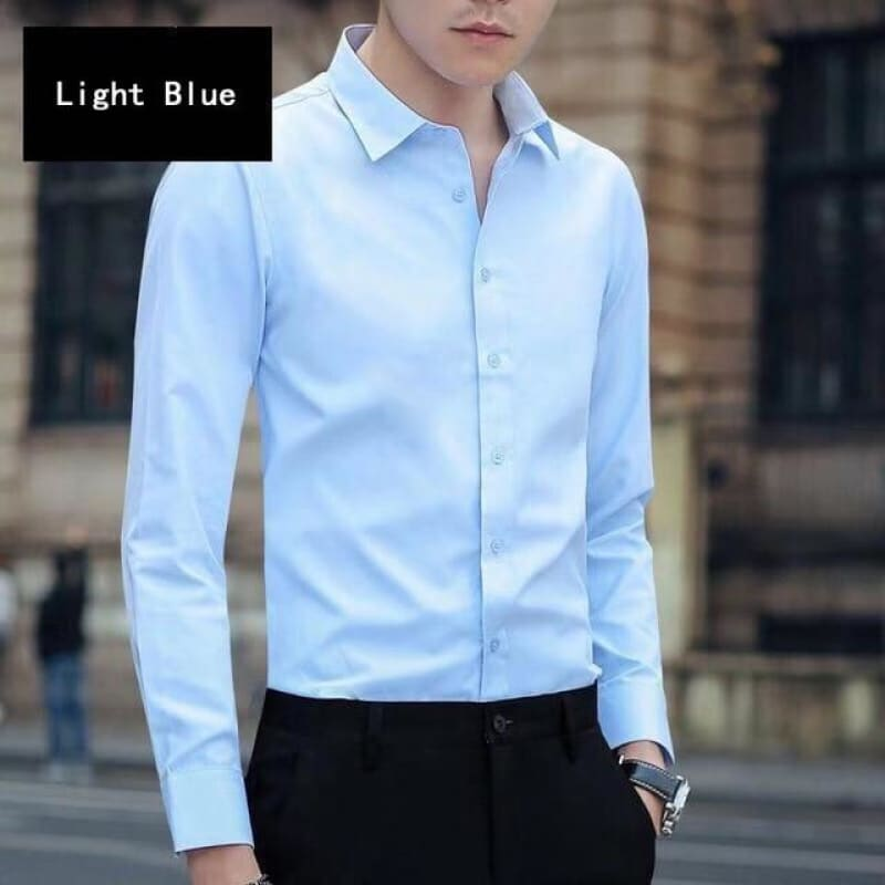 Men's 4XL 5XL Large Size Business Dress Long Sleeved Shirt White Blue Black Red Smart Male Social - My Web Store Shopping