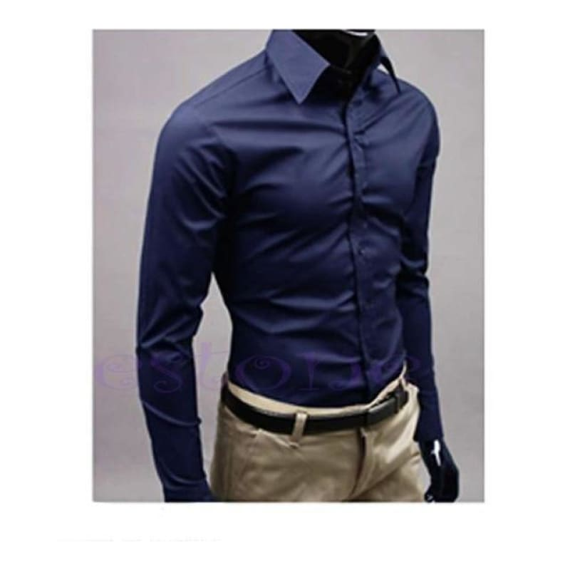Men 's Fashion Candy Color Long - sleeved Slim Business Casual Shirt Men Luxury Stylish Casual Dress - My Web Store Shopping
