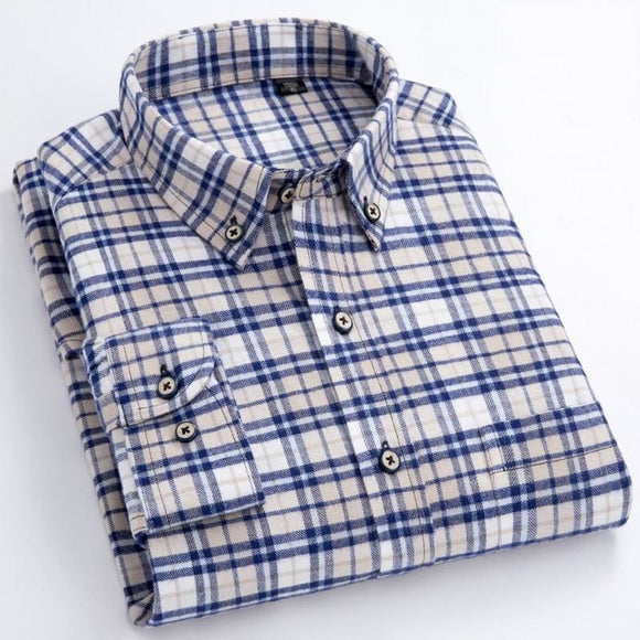 Men's Long Sleeve Plaid Checked Flannel Shirt with Pocket Slim-fit Comfortable Soft 100% Cotton - My Web Store Shopping
