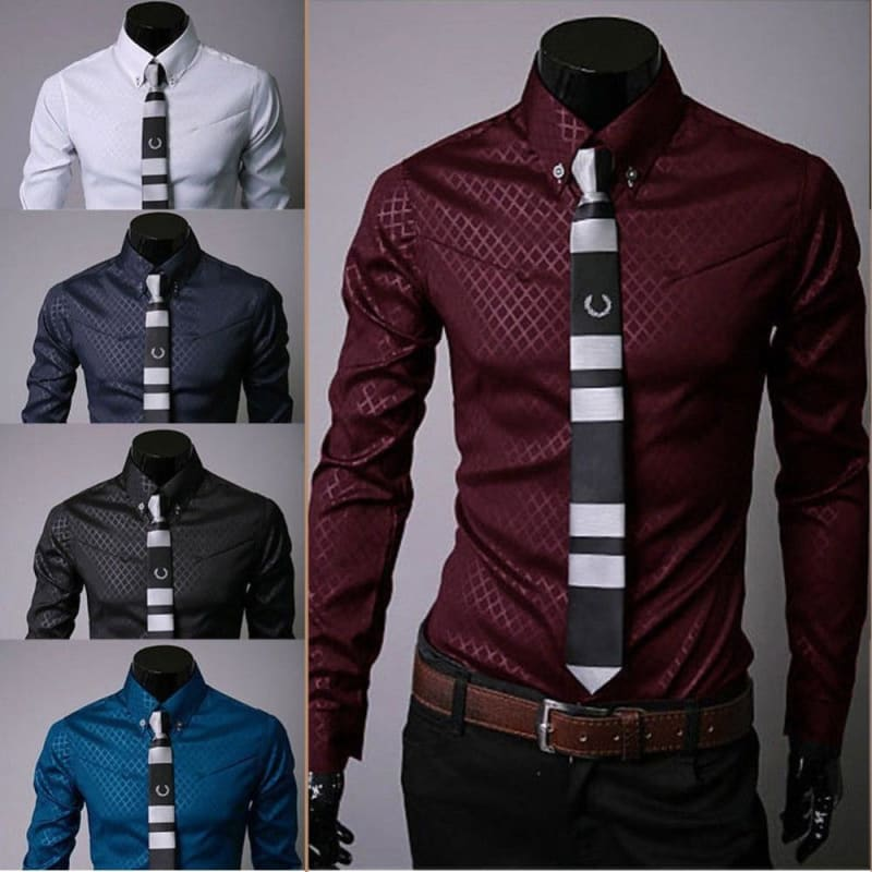 Men's Luxury Casual Shirts Slim Fit Dress Shirts Long Sleeve Button Shirts Tops - My Web Store Shopping
