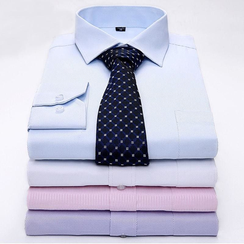Men's White Shirt Men Long-sleeve Work wear Shirts Business Formal Casual Mens Clothes Twill Cotton - My Web Store Shopping