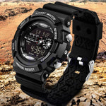 Men's Stainless Steel LED Digital Date Alarm Watch Waterproof Sports Army Quartz Watches - My Web Store Shopping