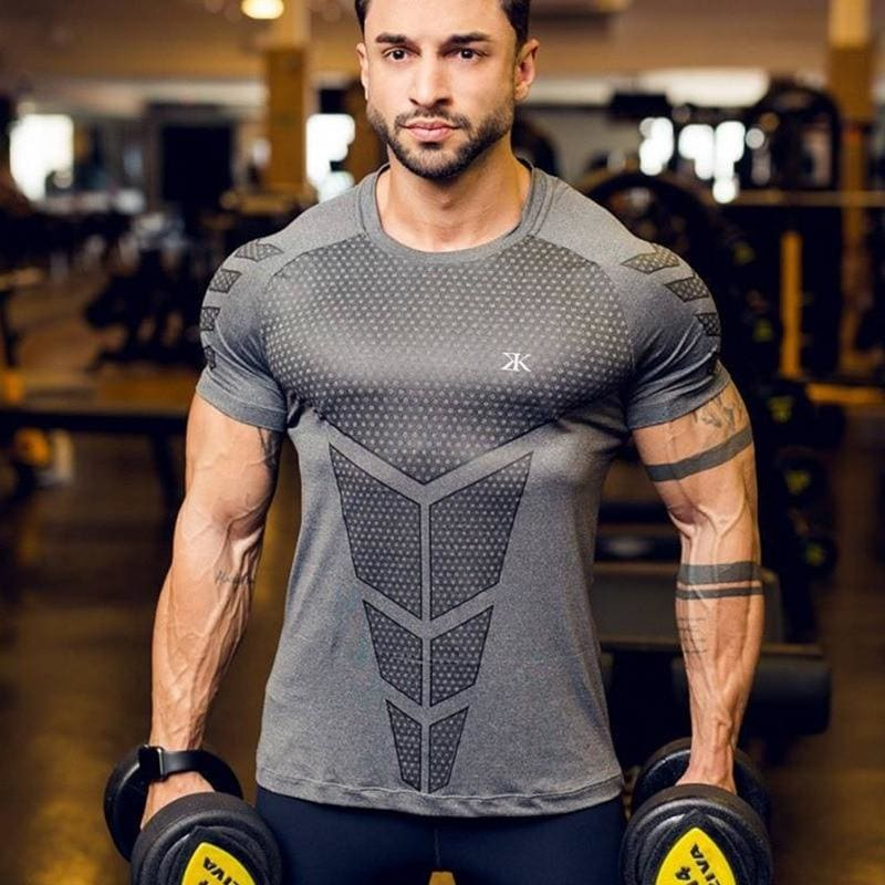 Mens Running Sports t shirts Gym Fitness Training Compression Skinny T-shirt Male Crossfit - My Web Store Shopping