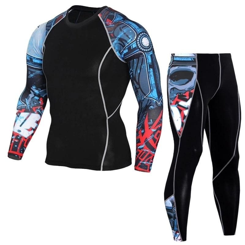 Mens Sports Running Sets Compression Quick Drying T Shirts Leggings Gym Fitness 3XL Base Layer - My Web Store Shopping