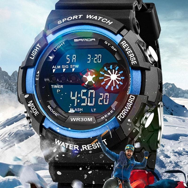Mens Stainless Steel LED Digital Date Alarm Waterproof Sports Army Quartz Watch Electronic Watch - My Web Store Shopping