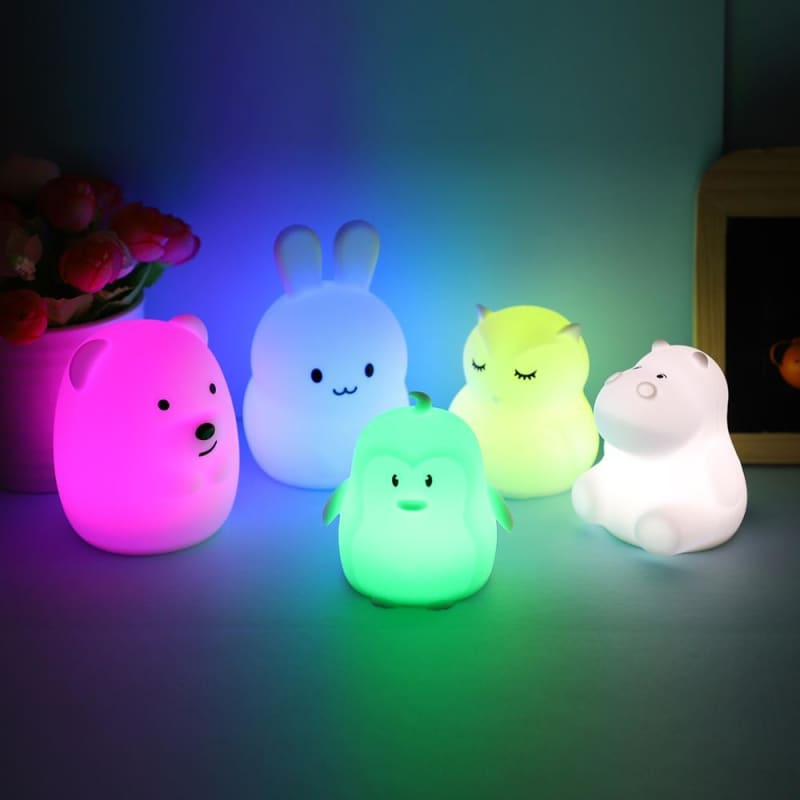 Mini Animal RGB LED Lamp Bear Rabbit Hippo Owl Penguin Night Light Portable Cartoon Silicone Lamp - My Web Store Shopping