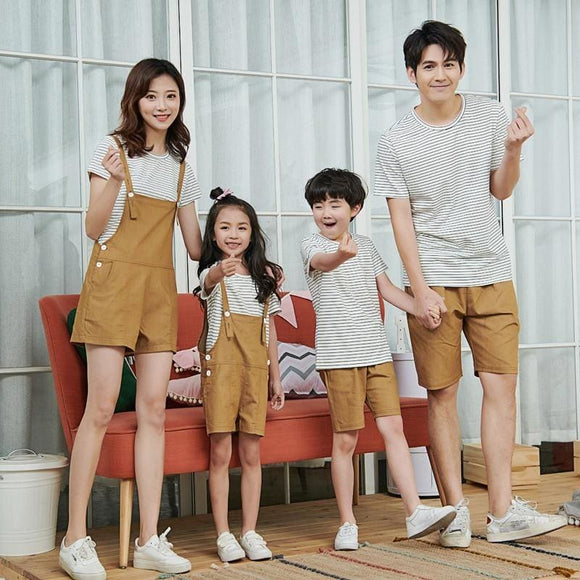 Mom and Son baby Matching Clothes Family striped shirts jumpsuits 2019 summer T-shirts - My Web Store Shopping