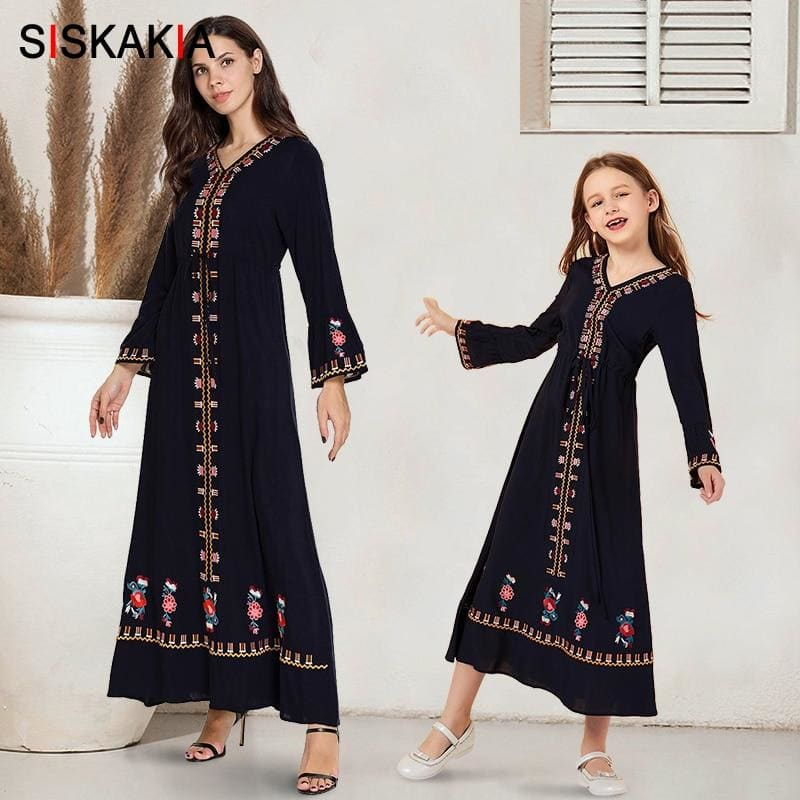 Mother and Daughter Clothes Dress Long Navy Blue Ethnic Embroidered Family Matching Outfits Flare - My Web Store Shopping