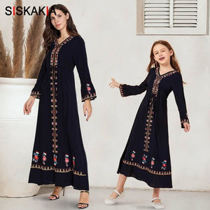 Load image into Gallery viewer, Mother and Daughter Clothes Dress Long Navy Blue Ethnic Embroidered Family Matching Outfits Flare - My Web Store Shopping