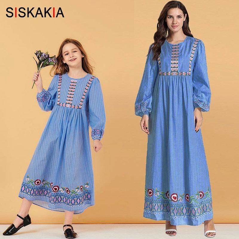 Mother and Daughter striped Embroidery Long Dress Muslim Parent Child Girl Casual Dresses Long - My Web Store Shopping