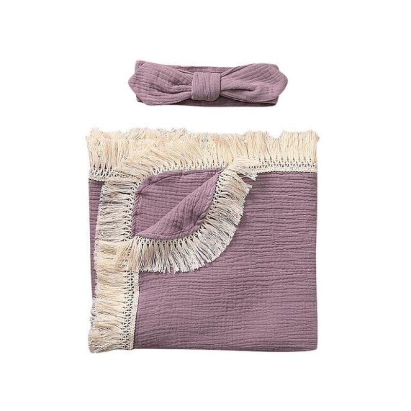 Solid Tassel Baby Swaddle Blanket Receiving Blanket Sleep Swaddle Wrap Baby Multi-purpose Children - My Web Store Shopping