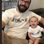 "Mom Daughter Father Son T-shirts ""CTRL+C OR CTRL+V"" Letter Cotton Tops Mommy and me clothes - My Web Store Shopping"