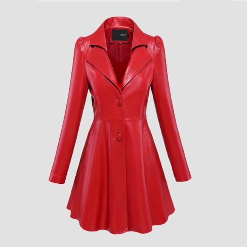 Fit and flare faux leather coat notched lapel long puff sleeve Skirted black plus size red black light leather blazer - My Web Store Shopping