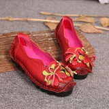 New Autumn Flowers Handmade Shoes Women's Floral Soft Flat Bottom Shoes Casual Sandals - My Web Store Shopping