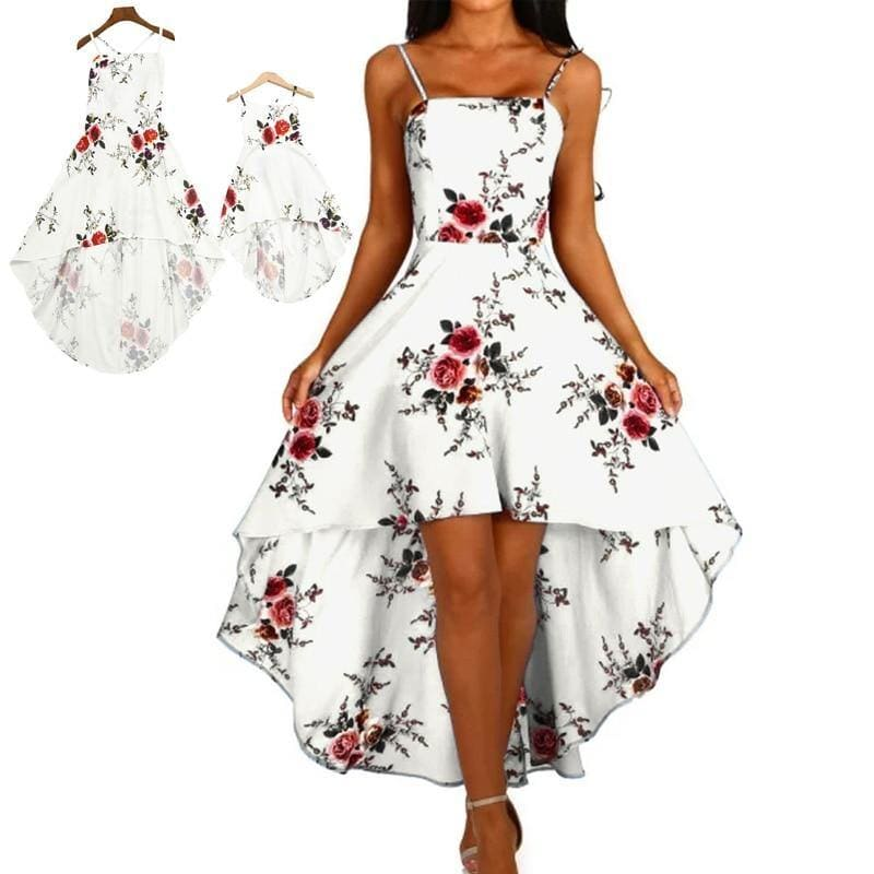 New Family Matching Dress Long Backless White Printing Floral Full Dress Conjuntos Mama Hija Mother Daughter Dresses Family Look - My Web Store Shopping