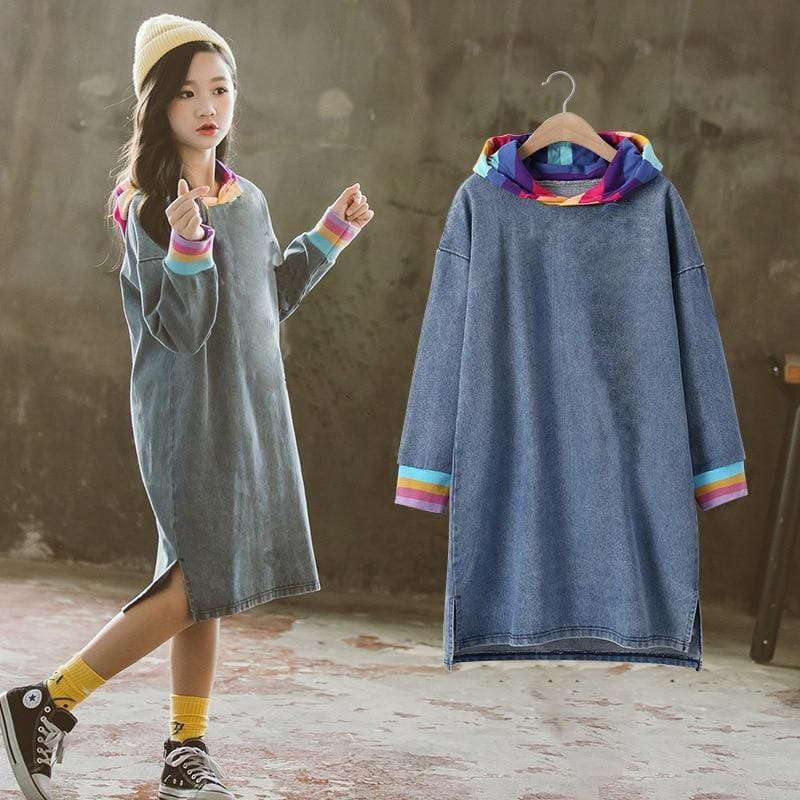 New Fashion Kids Girls Jeans Dress 2020 Spring Long Sleeve Denim Tshirt Dresees 10 12 Years Children - My Web Store Shopping