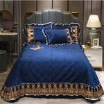 New Luxury Crystal velvet bed coverlet 3pcs bedspreads queen size bed cover set king size bedskirt reactive print multi-style - My Web Store Shopping