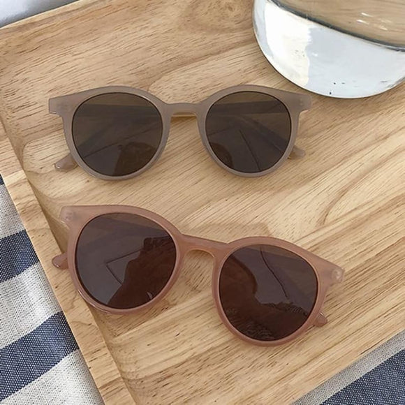 New retro small round frame sunglasses trend milk tea color UV protection eye small glasses - My Web Store Shopping