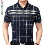 New summer polo shirt men short sleeve polos shirts plaid slim fit mens pol clothes dress - My Web Store Shopping