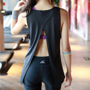Load image into Gallery viewer, Women Yoga Vest T-shirt Hollow Back Sports Fitness Tank Top Yoga Running Gym Jogging Vest Tops - My Web Store Shopping