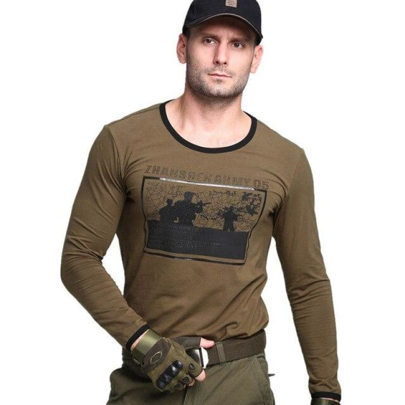 Outdoor Tactical Men T-shirts  Military Comfortable Cotton Camping Climbing Sports T-Shirts Army Long Sleeve  Breathable T-Shirt - My Web Store Shopping