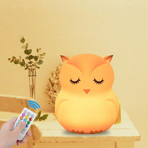 Load image into Gallery viewer, Owl LED Night Light Remote Control Touch Sensor 9 Colors Dimmable Timer USB Cartoon Silicone Bedside - My Web Store Shopping