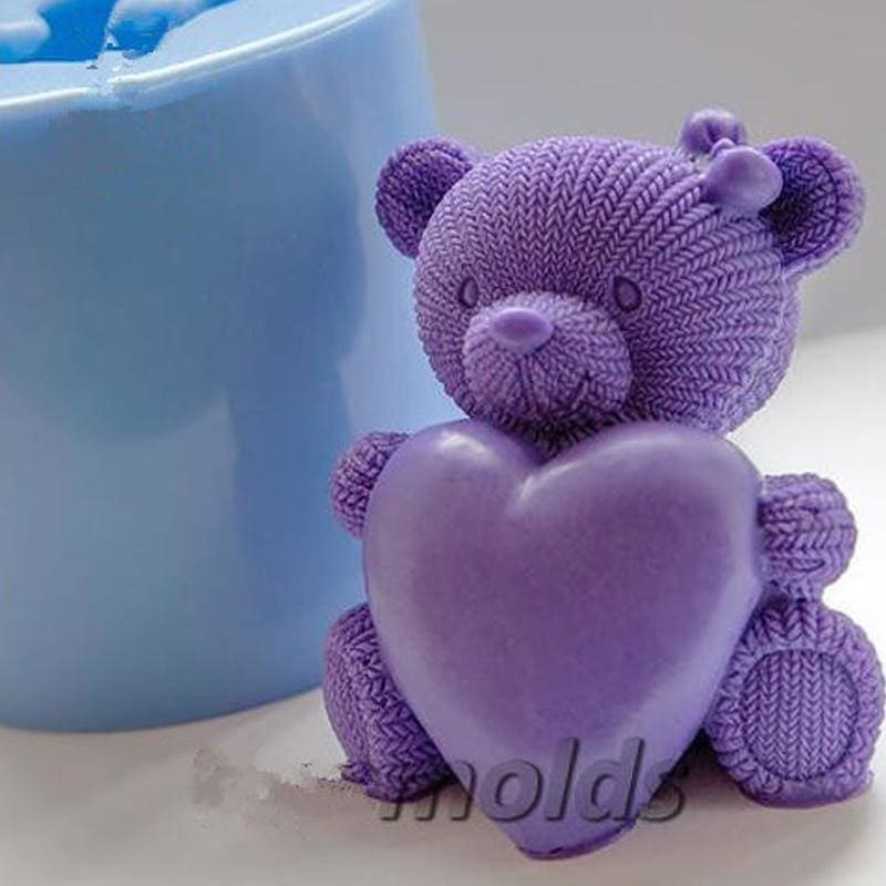 Knitted Teddy Heart 3D Silicone Mold for Soap&candles Making Cake Decorating Clay Baking Tools - My Web Store Shopping